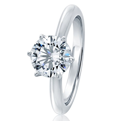 Sterling Silver Round 1.5ct CZ 6 prong Classic Solitaire Wedding Engagement Ring 7.5MM (Size 5 to 10), 6
