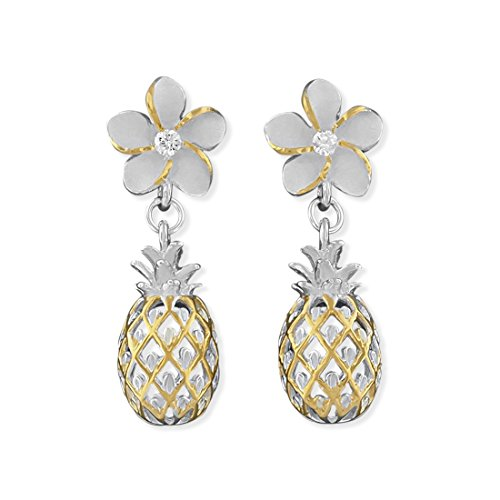Sterling Silver with 14kt Yellow Gold Plated Accents Plumeria and Pineapple Dangle Earrings