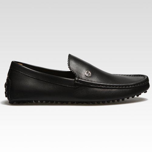 Gucci Mens Moccasin with Interlocking GG Logo in Black Leather USA Size 6 (Printed Size 5) G0011
