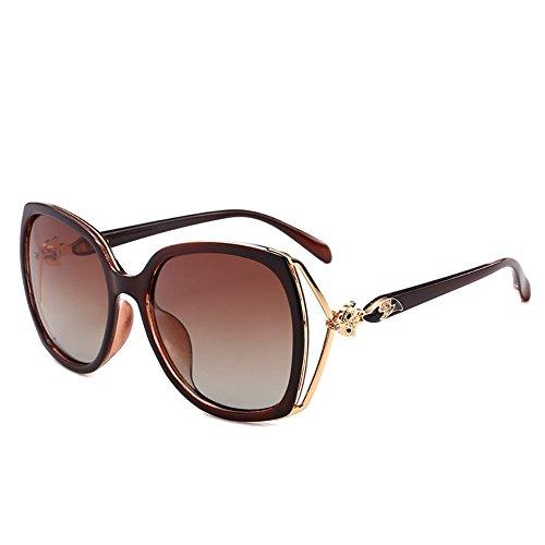 gafas de polarizador Color Marco de de Gafas 6 Gafas de señoras la sol Té las de sol Shop de chica redonda de de cara conducción las elegantes de sol señoras Tpqvfxx