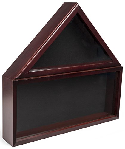 Displays2go, Commemorative Flag Memorabilia Case, Solid Pine and Glass Construction, and Felt Backing – Mahogany Finish