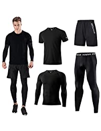 2afbed1f4 Holure Men s Sports Running Set (Pack of 4) Athletic Shirt+Short Compression
