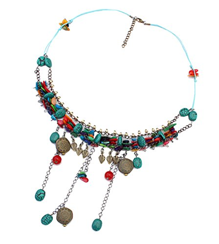LINJIE JEWELRY Retro imitation Shell Bohemia Multilayer Necklace simulated Turquoise Beads Cluster Statement Necklace(Multi)