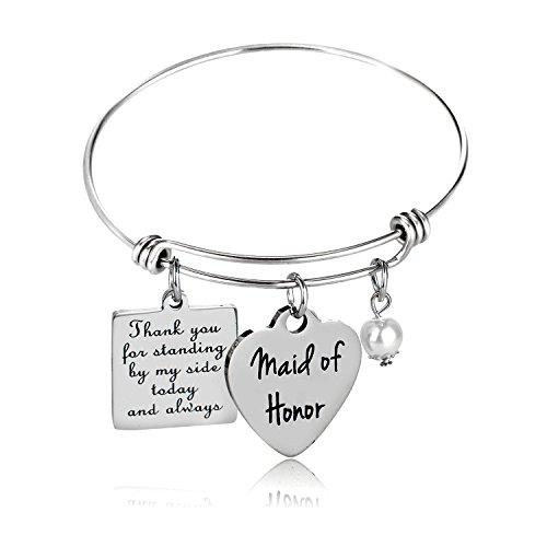 YEEQIN Maid of Honor Gift, Bridesmaid Gift, Wedding Gift, Maid of Honor Bangle Bracelet