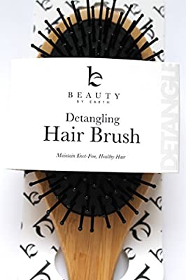 Detangling Brush - Wooden Paddle & Best Detangler All Hair Types (Thin, Fine, Thick, Wet, Natural, Curly) to Detangle and Style - Natural Healthy Locks Without Knots or Tangles - For Kids, Men & Women