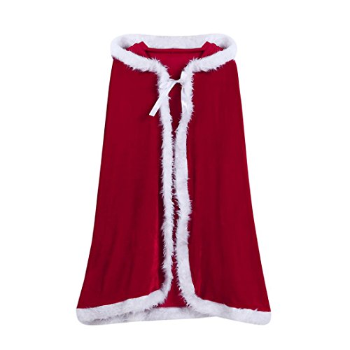 Woaills 1PC Childrens' Christmas Costume,Santa Hooded Cosplay Cape Robe For Boy Girl Kids (Red, Free (Cable Girl Costume)