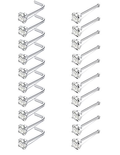 - JOERICA 20 Pcs 20G Stainless Steel Nose Studs Rings Pin L Bend Body Piercing CZ Inlay 3mm