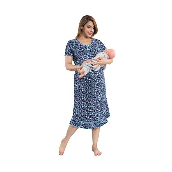 9shines Label Stretchable Cotton Feeding/Maternity/Nursing Nighty for Women with Zips