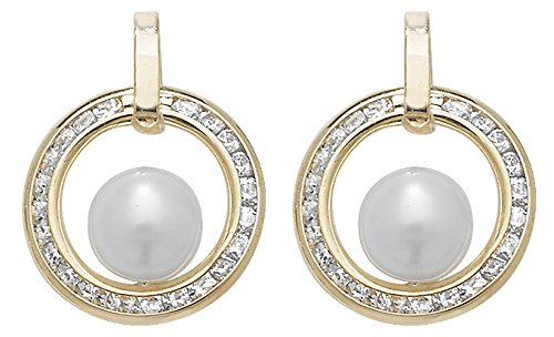 9ct or Boucles d'oreilles clous avec perle