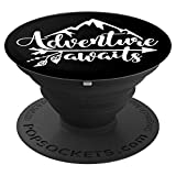 Adventure Awaits - Camping, RV, Outdoor Travel Phone Grip - PopSockets Grip and Stand for Phones and Tablets