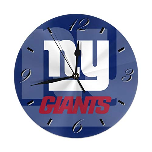 Aoskin New York Giants Silent Non Ticking 9.8 in Quality Quartz Battery Operated Round Easy to Read Home/Office/School Clock ()