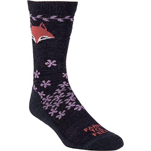 Farm to Feet Women's Emeryville Lightweight Crew Socks, Charcoal/Very Grape, - Shops Emeryville