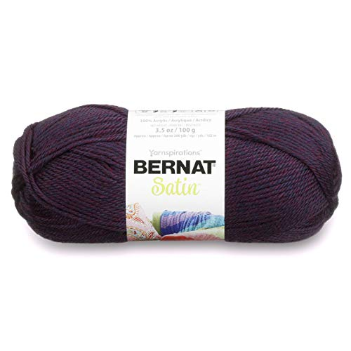 - Bernat Satin Solid Yarn, 3.5 oz, Gauge 4 Medium Worsted, 100% Acrylic, Plum Mist Heather