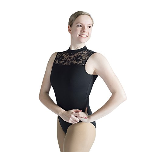 HDW DANCE Black Women Ballet Dance Leotard Lace Turtle Neck with Open Back (S, Black)……
