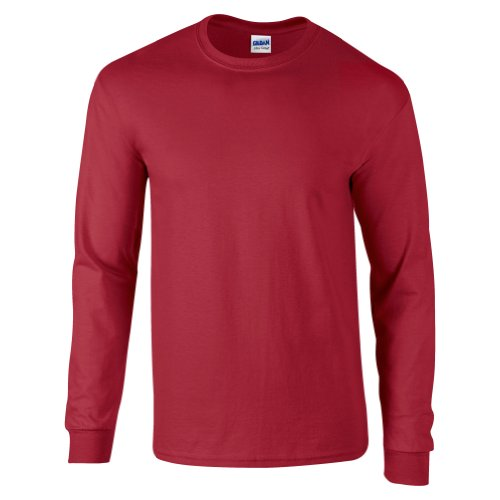 Manches Gildan Cottontm Longues T Cardinal Rouge Red shirt À Ultra Adulte OPYqrw6P