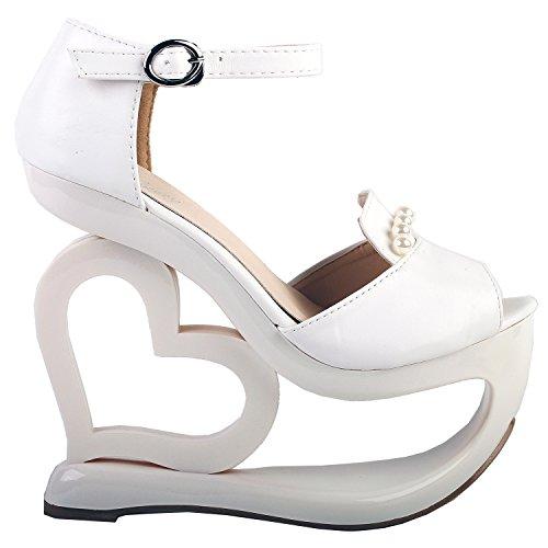 de demoiselle en d'honneur Glam de à compensé mariée de avec D talon perles Montrez coeur forme l'histoire Sandales White Yx8n0Aq