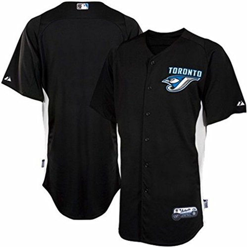 Blue Batting Practice Baseball Jersey - Toronto Blue Jays MLB Mens Majestic Authentic Batting Practice Jersey Black Adult Sizes (2XL)