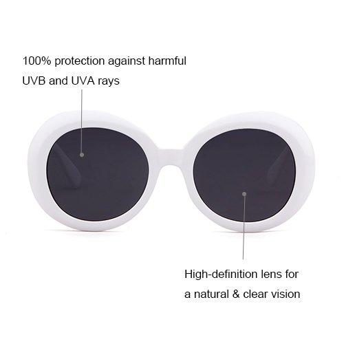 Vintage Femmes Goggles soleil de Lunettes White Oversize Clout Hommes Ovale ADEWU Mode q7BXZC