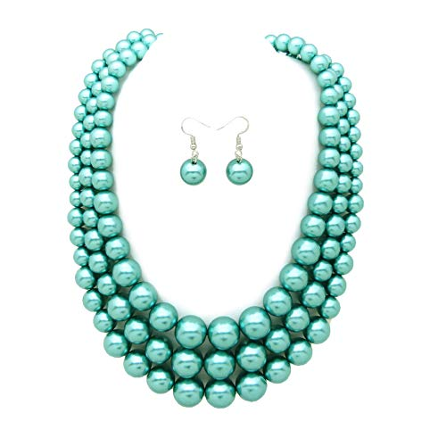 Faux Strand Earrings - Women's Simulated Faux Three Multi-Strand Pearl Statement Necklace and Earrings Set (Teal)