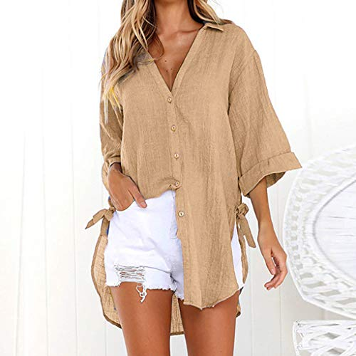35ae382c8 TUDUZ Womens Loose Button Long Shirt Ladies Baggy Cotton Linens Half Sleeve  Bow Casual Blouse Tops T-Shirt: Amazon.co.uk: Clothing