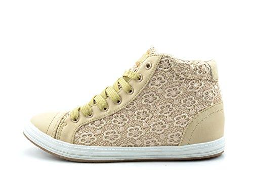 Dream Pairs QUEEN-1C Women Lace Up High Top Sheer Crochet Fashion Sneakers