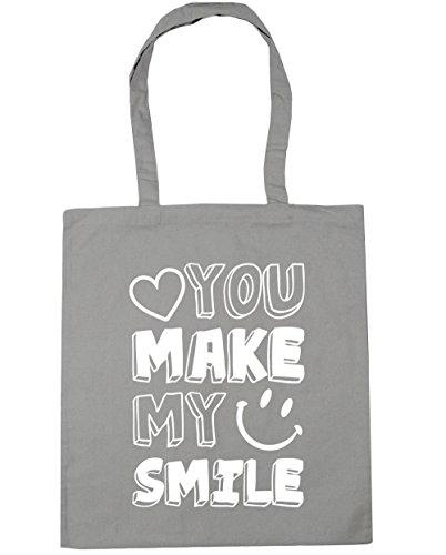 HippoWarehouse YOU MAKE mi sonrisa Tote Compras Bolsa de playa 42cm x38cm, 10litros gris claro