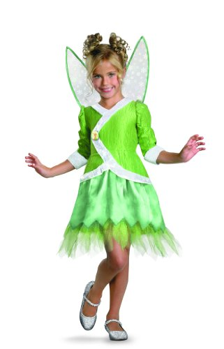 Disney Secret Of The Wings Tinker Bell Deluxe Costume, Green/White, Small