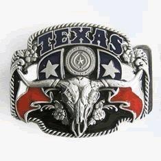 Texas Pride Long Horn Skull Belt (Texas Buckle)