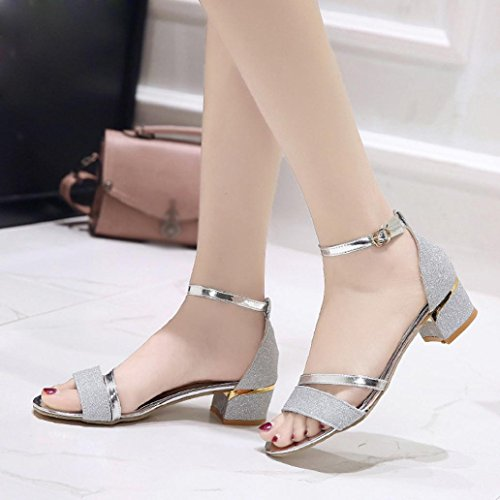 Shoes Sandals Toe Mid Silver Party Ladies Fashion Women Heel Block Muium Open Sequins w8xaTcP
