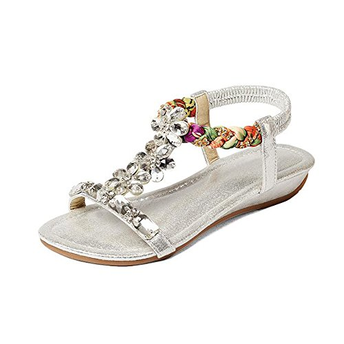 Material Optional Women's Gold Silver Silver Simple PU Sandals Feifei Rhinestone Ethnic Shoes Summer Wind xXZ1T75wUq