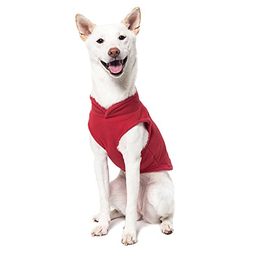 Image of Gooby - Fleece Vest, Small Dog Pullover Fleece Jacket with Leash Ring, Red, X-Small