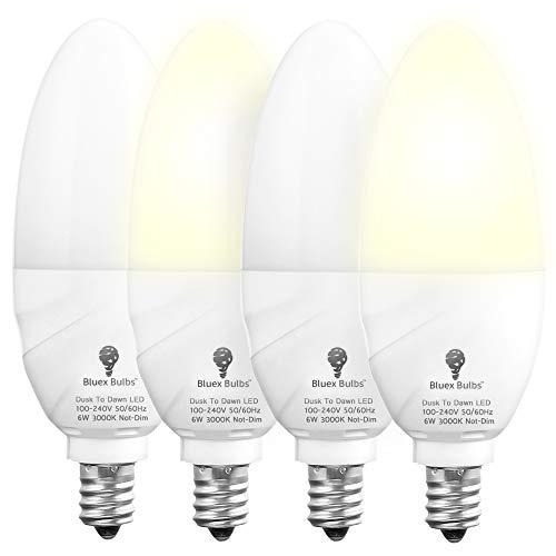 4 Pack Bluex Dusk to Dawn LED Bulbs, 6W E12 Base Light Bulb - 65W Equivalent - 3000K WarmLight White - Smart Light Sensor Candelabra Bulb, Home Security Indoor, Outdoor, Driveway, Yard, Porch Lighting