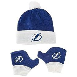 OTS NHL Tampa Bay Lightning Infant Pow Pow Knit Cap & Mittens Set, Team Color, Infant