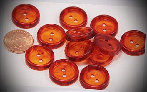 Baby Bullet Amber Led - JumpingLight 12 Shiny Concave Translucent Dark Amber Plastic Buttons 3/4'' 19MM 6149 Perfect for Crafts, Scrap-Booking, Jewelry, Projects, Quilts