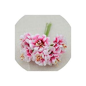 Old street 6pcs Fake Flower Silk Gradient Stamen Handmake Artificial Flower Bouquet Wedding Decoration DIY Wreath Gift Scrapbooking Craft,Rose Red 83