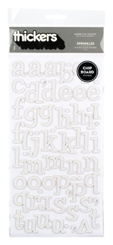 (American Crafts Thickers Glitter Chipboard Letter Stickers, Sprinkles White)