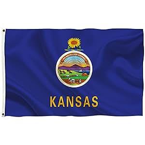 """Brisa Decor–Kansas Americana–Everyday Protector de impresión tradicional horizontal estándar bandera 36""""x 60"""""""
