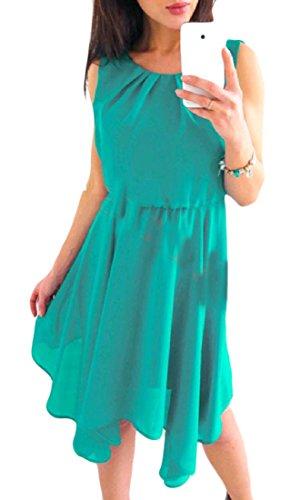 Tunic Sleeveless Beach Chiffon Boho Dress Swing Women's Casual Cromoncent Green wBUYn6q