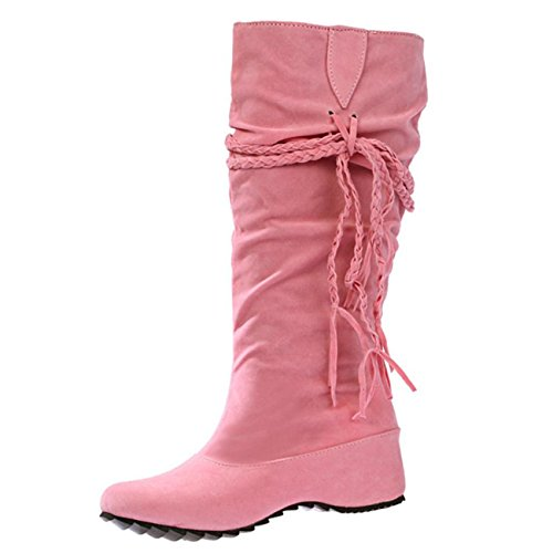 Women Shoes Heighten Thigh Boot High Motorcycle Boots Pink Tessals ESAILQ Platforms 57Eqpnzxxw
