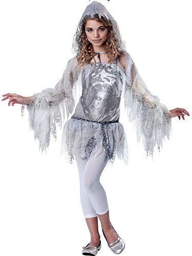 InCharacter Costumes Tween Sassy Spirit Ghost Costume, White/Silver, Large