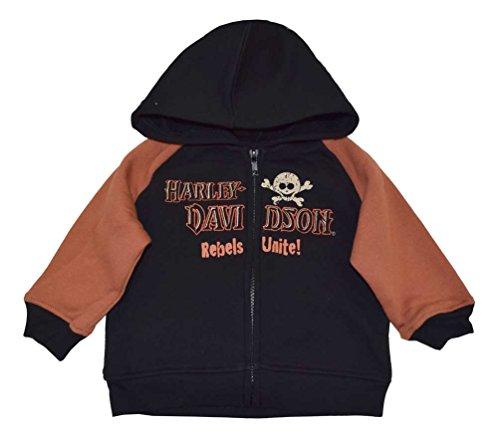Harley-Davidson Baby Boys' Skull Cutie Fleece Hooded Sweatshirt, Black 4261362