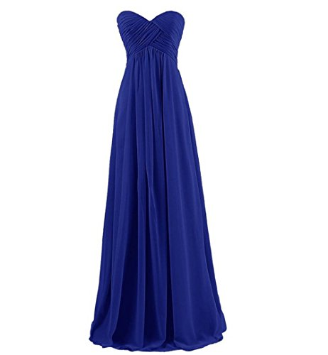 HAWEE Sweetheart Neckline Strapless Dress Long Chiffon Wedding Gown, Royal Blue 18