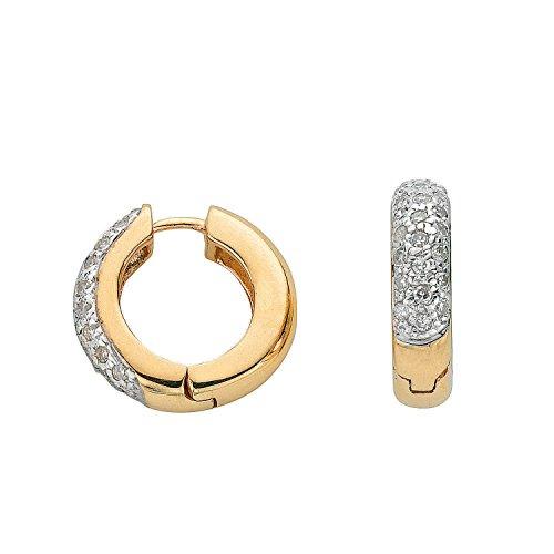 Jareeya-Diamant Boucles d'oreilles, 9ct or jaune avec diamants 0.25CT
