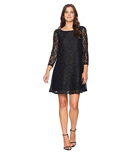 Tahari by Arthur S. Levine Women's Long Sleeve LACE Shift Dress with Ribbon Bow in Back, Black, 4