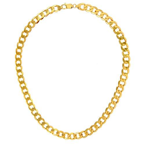 Revoni Bague en or jaune 9carats-48,5G-Collier Femme-Maille Gourmette, longueur 51cm/50,8cm, 9mm Largeur