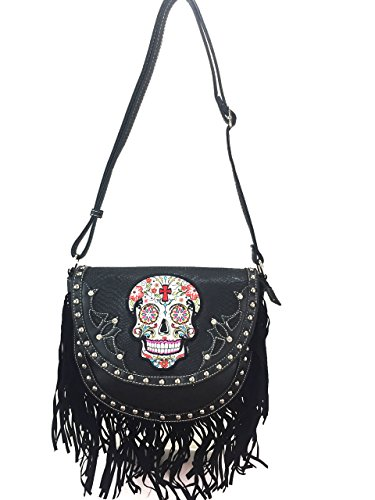 Cowgirl Trendy Sugar Skull Concealed and Carry Cross Body Bag With Fringe Black
