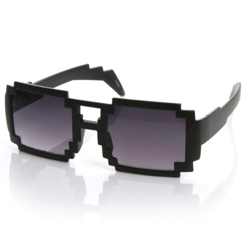 zeroUV - Black Square Aviator Digital CPU 16-Bit Graphics Gamer Geek Pixel Sunglasses (Shiny - Sunglasses Geek