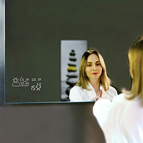 BYECOLD Horizontal Vanity Bathroom Mirror with Dimmable LED Light Touch Switch Demister Weather Forecast Lighted Makeup Mirror Wall Mirror-47.2 x 23.6