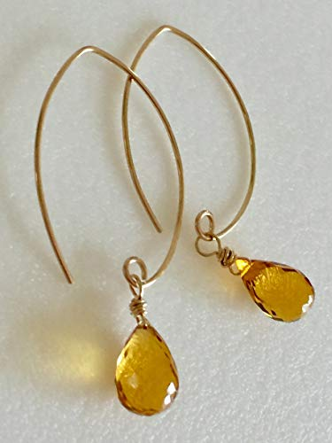 Citrine Yellow Earrings, Yellow Madeira Quartz Gemstones, Golden Topaz Teardrops, November Birthstone, Hand Forged Ear Wires, 14K Gold Fill.