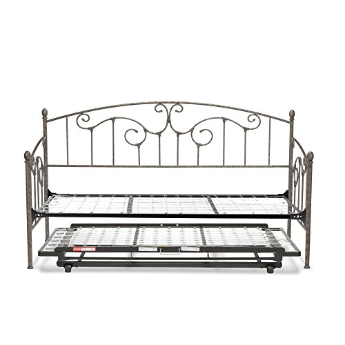 Fashion Bed Group B50F79 Hinsdale DB w, With Link Spring and Trundle Bed Pop-Up (Antique Pewter Daybed)